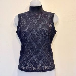 Cache Black Lace Tank Top with Mock Turtle Neck